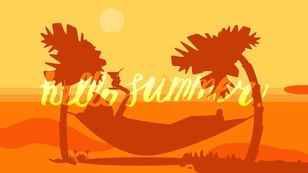 Hallo zomer belettering Premium Vector