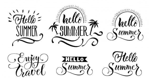Hallo zomer beletteringsset Gratis Vector