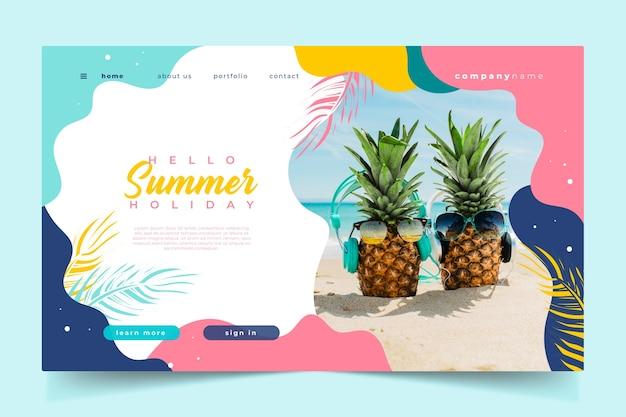 Hallo zomer bestemmingspagina ananas met bril Gratis Vector