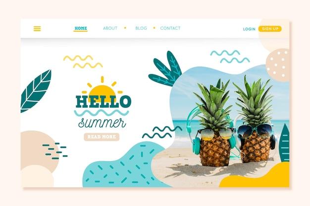 Hallo zomer bestemmingspagina concept Gratis Vector