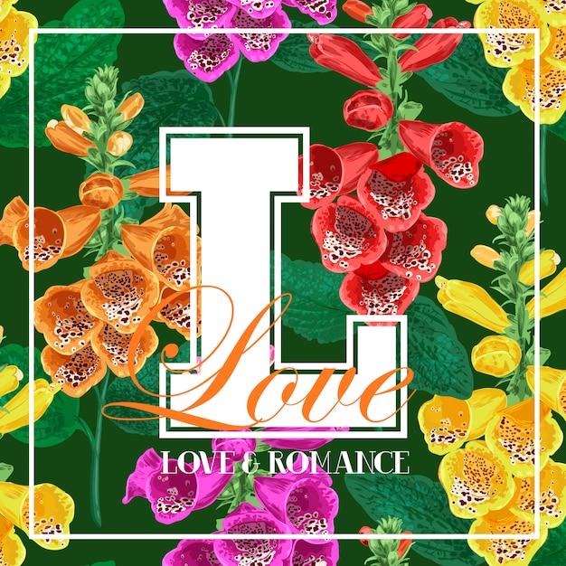 Hallo zomer bloemmotief met tropische bloemen Premium Vector
