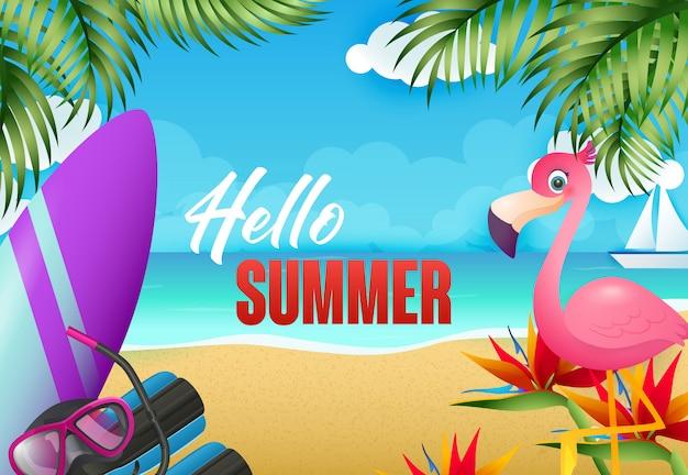 Hallo zomer flyer ontwerp. flamingo, surfplank Gratis Vector