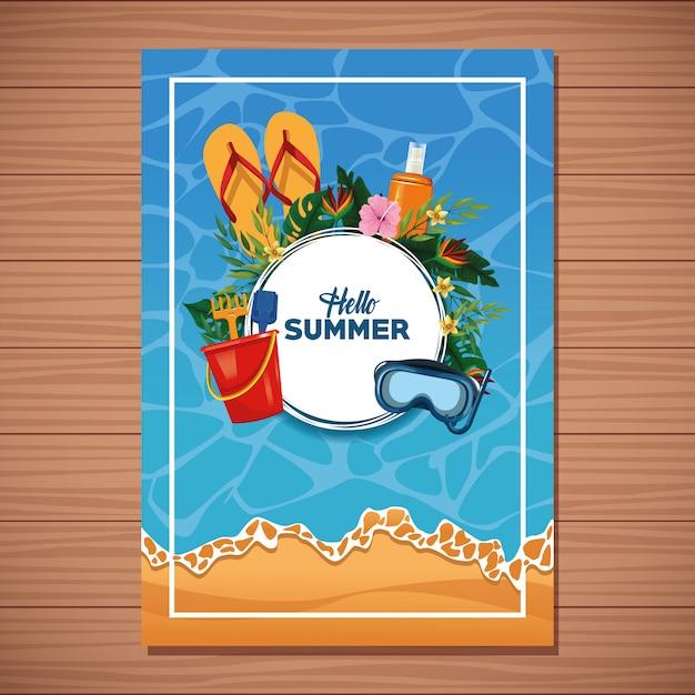 Hallo zomer kaart op houten achtergrond Gratis Vector