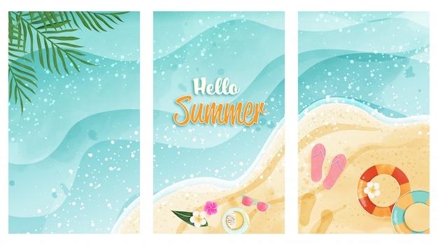 Hallo zomer kaartenset vertegenwoordigen van aquarel strand. bovenaanzicht en heeft kopie ruimte. ontwerp voor kaart, poster, cadeaubon en anders. Premium Vector
