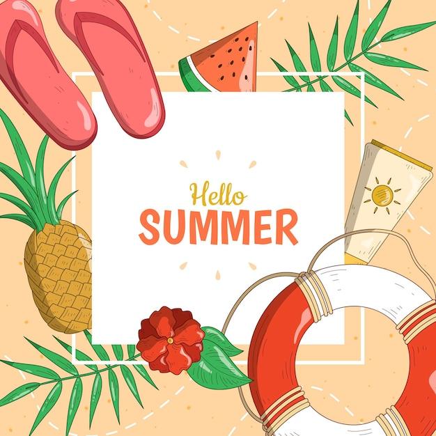 Hallo zomer met ananas en bladeren Gratis Vector