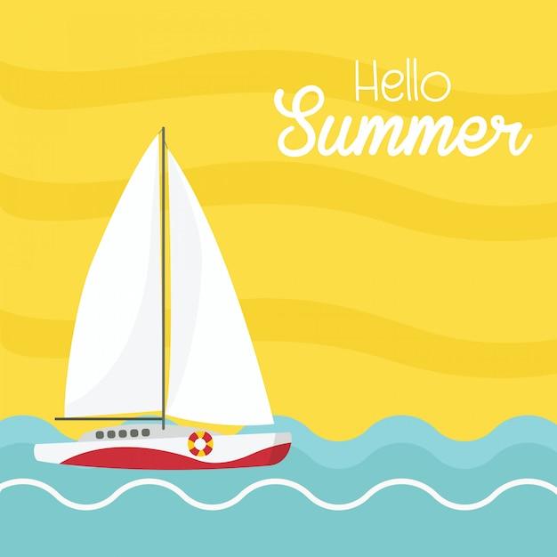 Hallo zomer met boot op de zee. Premium Vector