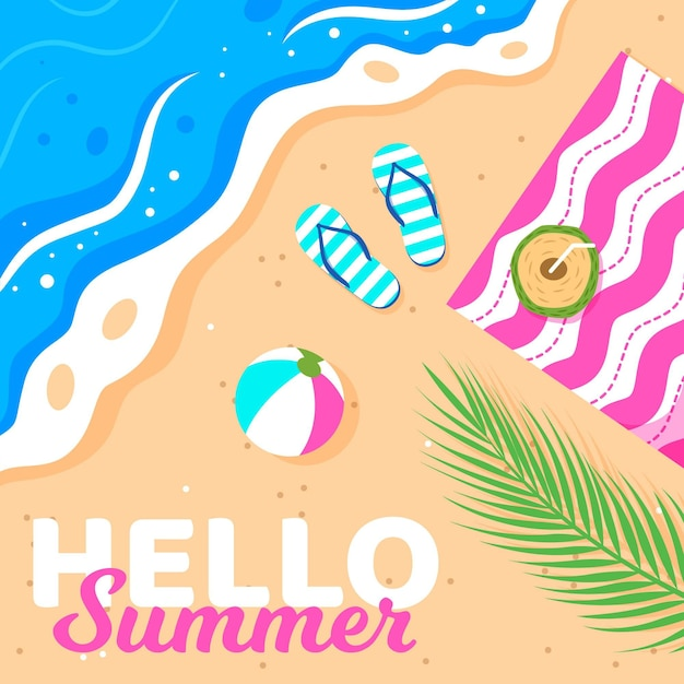 Hallo zomer met strand en slippers Gratis Vector