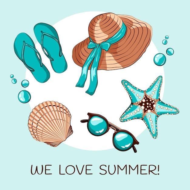 Hallo zomer met strandbenodigdheden Gratis Vector