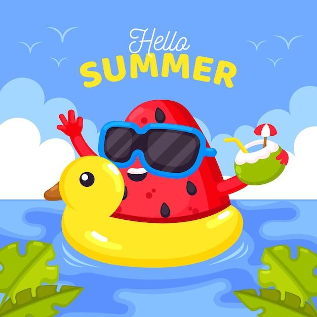 Hallo zomer plat ontwerp Gratis Vector