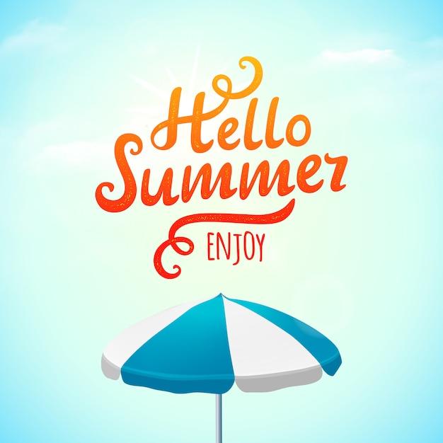 Hallo zomer typografie inscriptie met parasol. illustratie Premium Vector