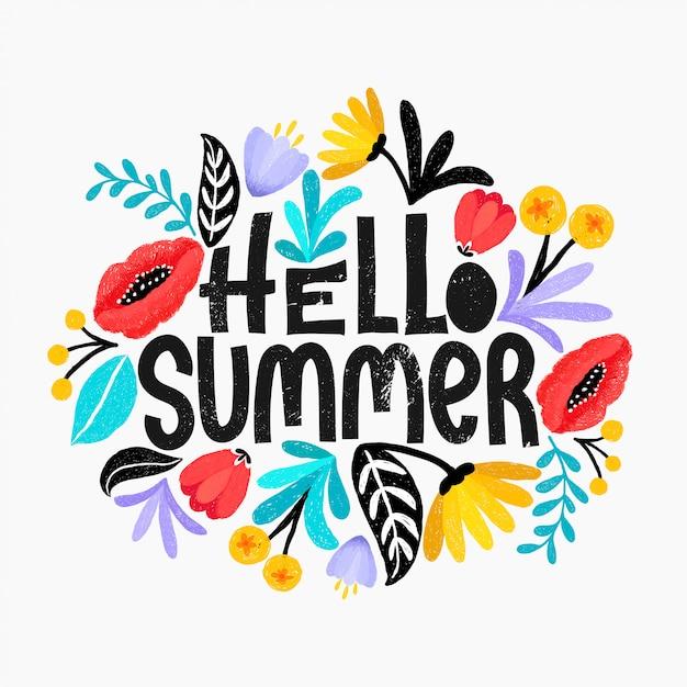 Hallo zomer vectorillustratie. ontwerp met bloemen digitale schets stijl. leuke heldere bloemen. Premium Vector