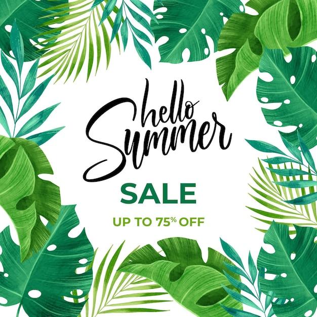 Hallo zomer verkoop aquarel stijl Gratis Vector