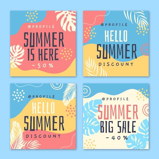 Hallo zomer verkoop instagram postsjabloon Gratis Vector
