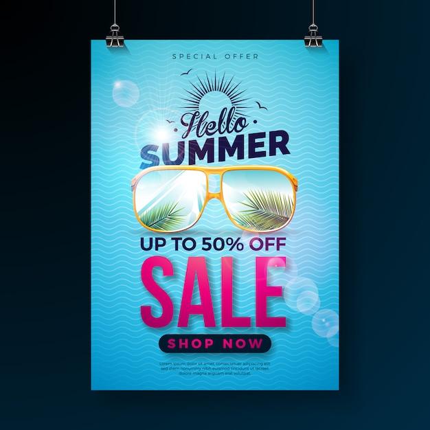 Hallo zomer verkoop ontwerp met typografie brief en exotische palmbladeren in zonnebril op blauwe achtergrond. tropische speciale aanbieding illustratie Premium Vector