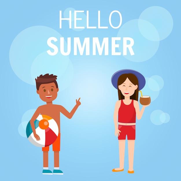 Hallo zomer vierkante banner Premium Vector