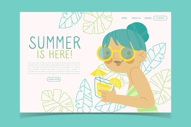 Hallo zomer websjabloon Gratis Vector