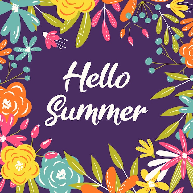 Hallo zomer wenskaart frame Premium Vector