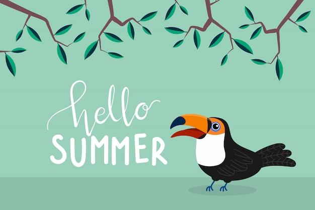 Hallo zomer wenskaart Premium Vector