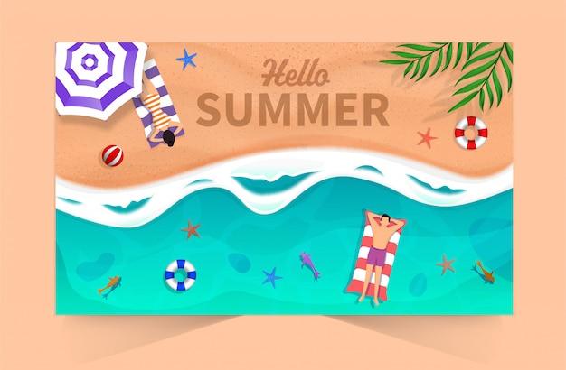 Hallo zomer Premium Vector