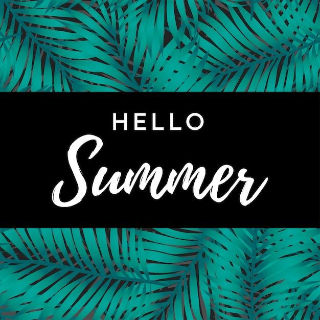 Hallo zomerkaart Premium Vector
