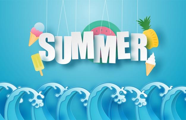 Hallo zomerposter of banner met hangende tekst, ijs, zwemring, ananas over zeegolf in papierstijl. illustratie digitale ambachtelijke papier kunst. Premium Vector