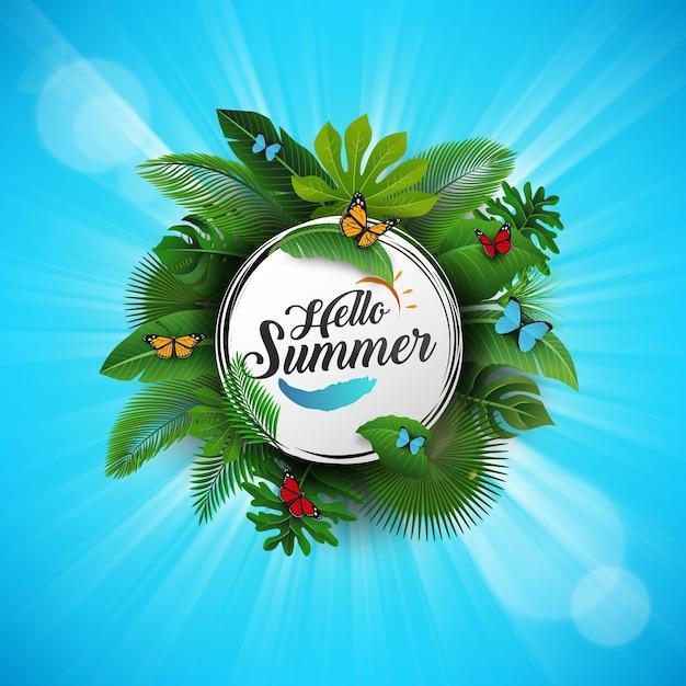 Hallo zomerteken met tropische bladeren en blauwe achtergrond Premium Vector