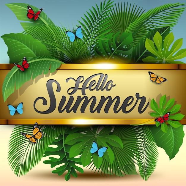 Hallo zomerteken met tropische bladeren en vlinders Premium Vector