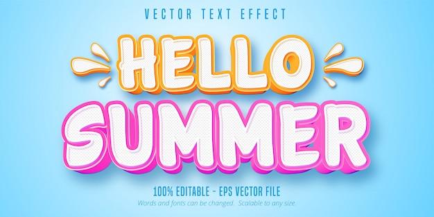 Hallo zomertekst, bewerkbaar teksteffect in komische stijl Premium Vector