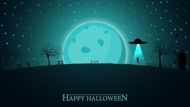 Halloween achtergrond. halloween-nachtlandschap met grote blauwe maan en vreemd schip Premium Vector