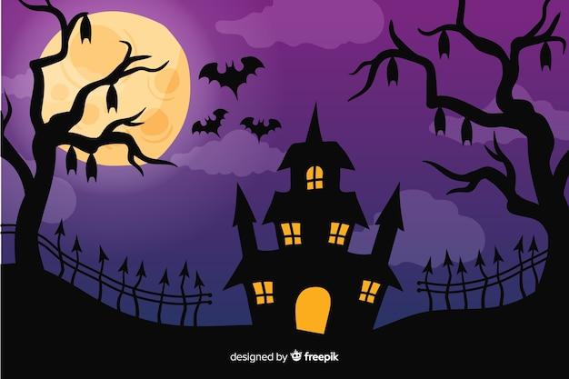 Halloween-achtergrond in handgetekende ontwerp Gratis Vector
