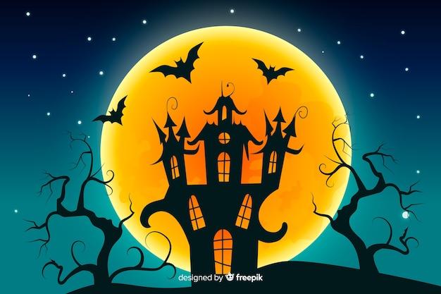Halloween-achtergrond in plat ontwerp Gratis Vector