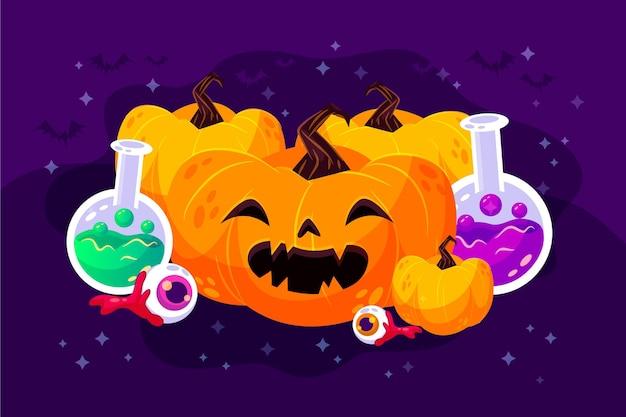 Halloween achtergrond in plat ontwerp Gratis Vector