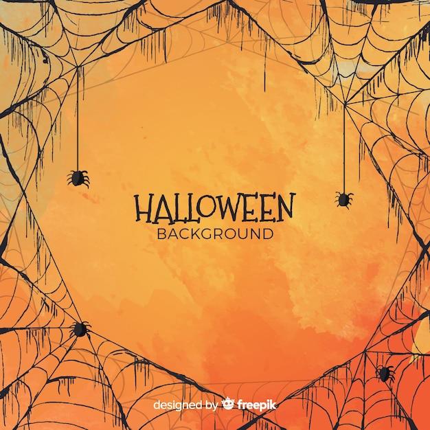 Halloween-achtergrond in waterverfstijl Gratis Vector