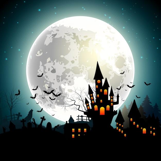 Halloween-achtergrond met achtervolgd kasteel, knuppels op volle maan Premium Vector