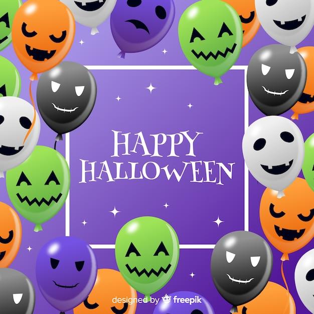 Halloween-achtergrond met ballons Gratis Vector