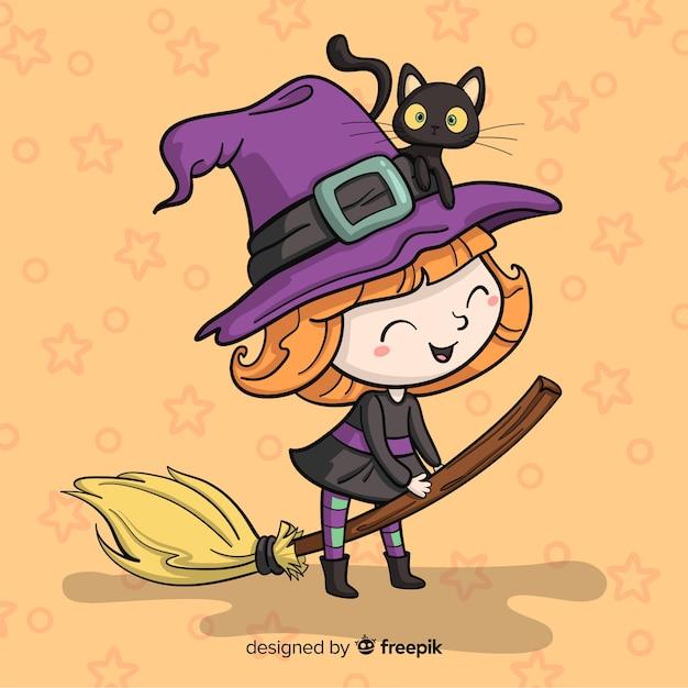 Halloween-achtergrond met heks Gratis Vector