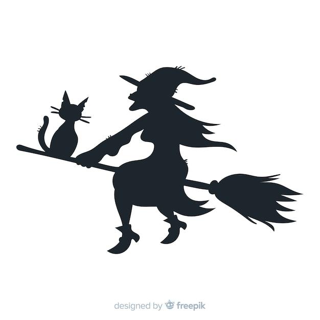 Halloween-achtergrond met heksensilhouet Gratis Vector