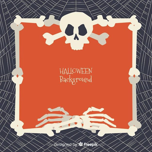 Halloween-achtergrond met kader van beenderen Gratis Vector