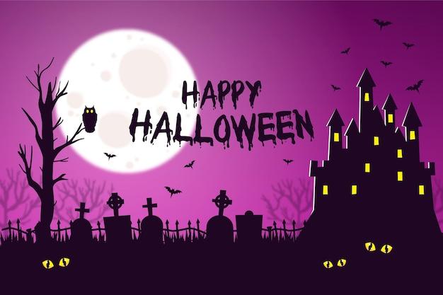 Halloween-achtergrond met kasteel en vleermuizen Gratis Vector