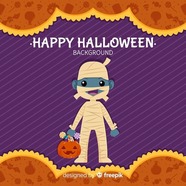 Halloween-achtergrond met mooie mama Gratis Vector