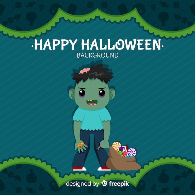 Halloween-achtergrond met mooie zombie Gratis Vector