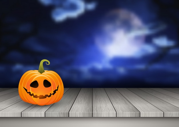 Halloween-achtergrond met pompoen op een houten lijst tegen een griezelig landschap Gratis Vector