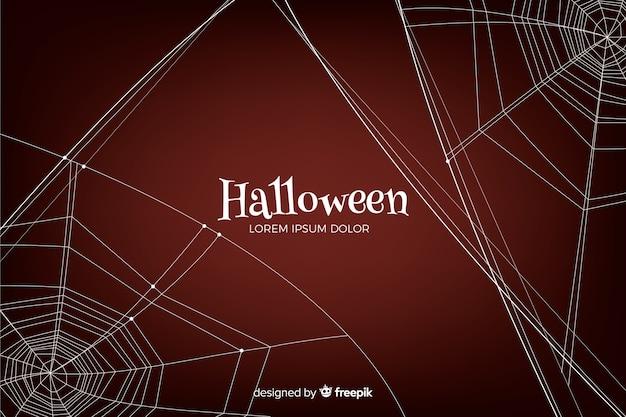 Halloween-achtergrond met spiderweb Gratis Vector