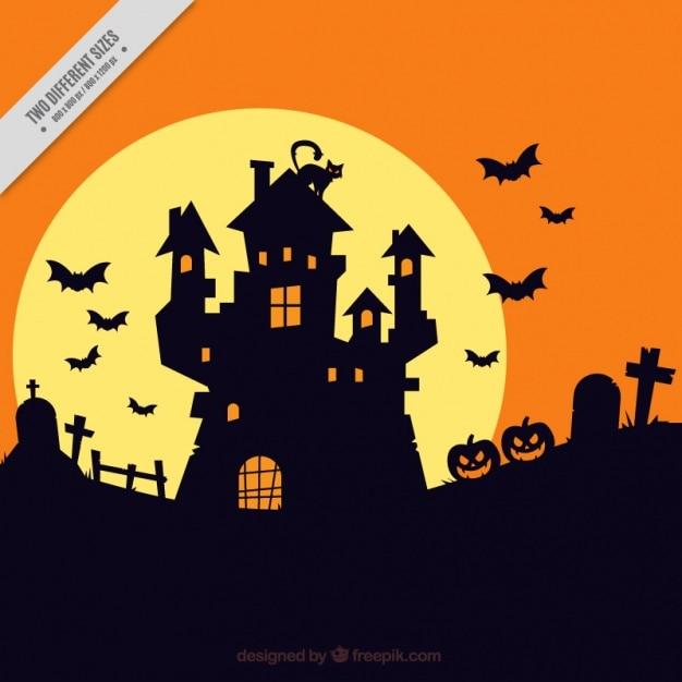 Halloween Achtergrond Met Spookhuis Silhouet 23 Elk Trick Or Treat