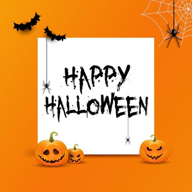 Halloween-achtergrond met witte ruimte voor tekst en pompoenen Gratis Vector