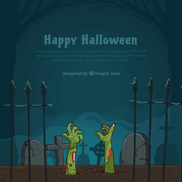 Halloween achtergrond met zombies Gratis Vector