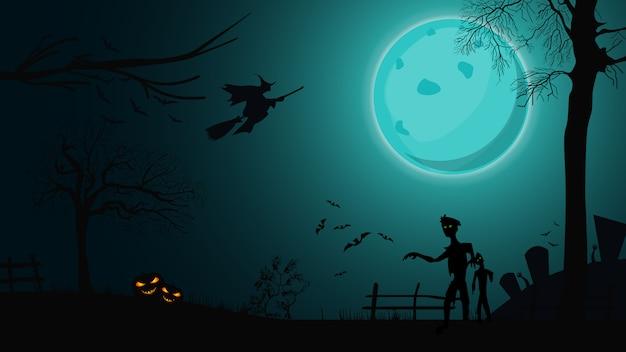 Halloween-achtergrond, nachtlandschap met grote blauwe volle maan, zombie, heksen en pompoenen Premium Vector