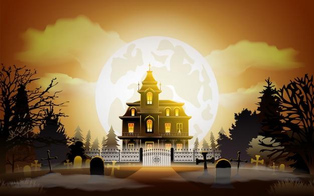 Halloween achtergrond. oud eng huis. Premium Vector