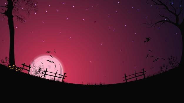 Halloween-achtergrond, volle roze maan, sterrenhemel, helder veld met hek, gras, bomen, vleermuizen en een heks op een bezem Premium Vector