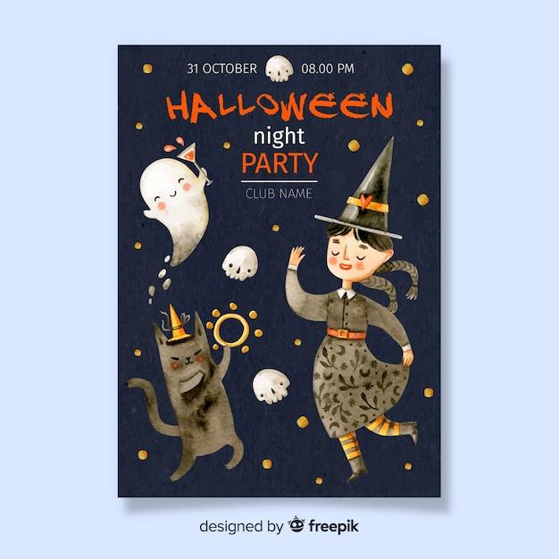 Halloween-affiche met dansende heks Gratis Vector